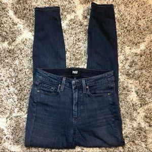 PAIGE High Waisted Dark Wash Denim Jeans